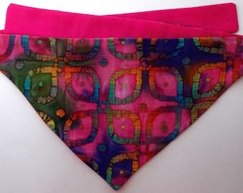 Dog Bandana, Tie On, Reversible Indian Batik Print