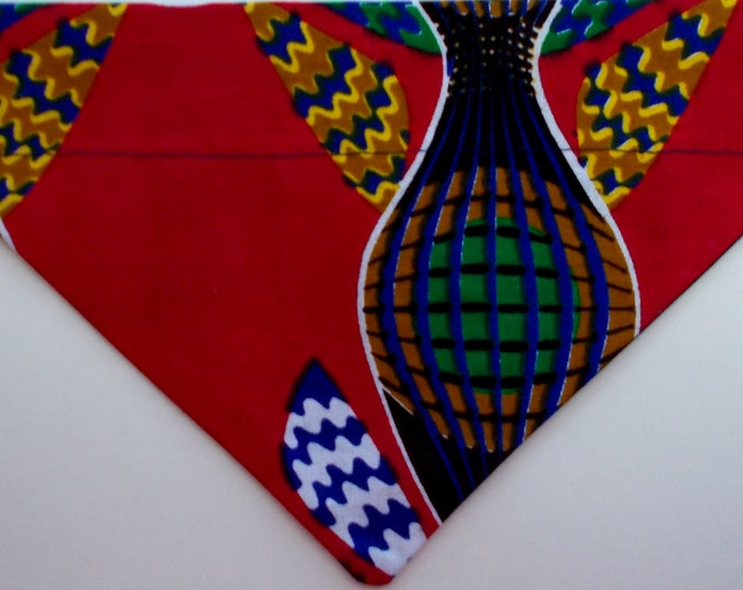 Dog Bandana, Over the Collar, African Wax Burgundy Print