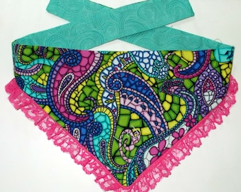 Dog Bandana, Tie On, Reversible Paisley Lace Print