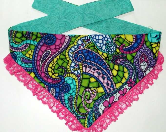 Dog Bandana, Tie On, Reversible Paisley Lace Print