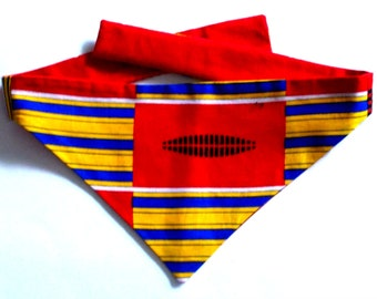 Dog Bandana, Tie On, Reversible, African Print
