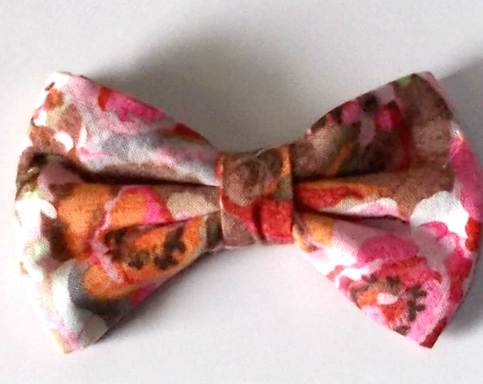 Dog Bow Tie Pink Floral Print Size Small