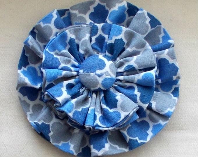 Dog Collar Flower Medium Blue Print