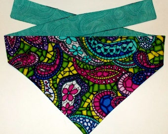 Dog Bandana, Tie On, Reversible Stained Glass Print