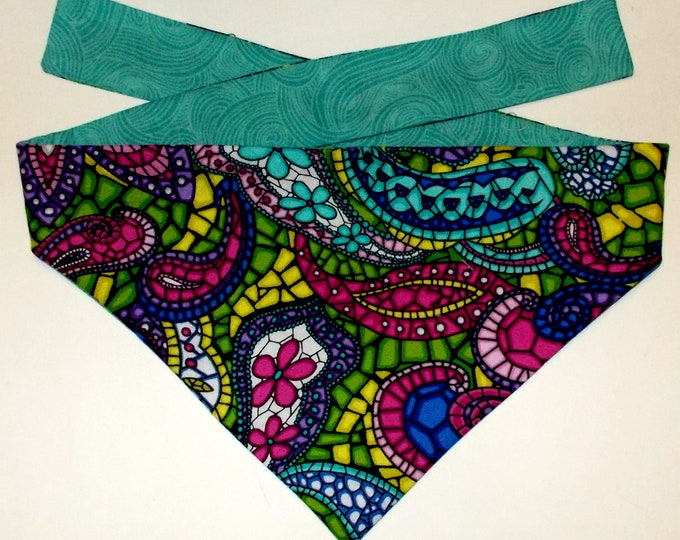 Dog Bandana, Tie On, Reversible Stained Glass Print (Size Small)