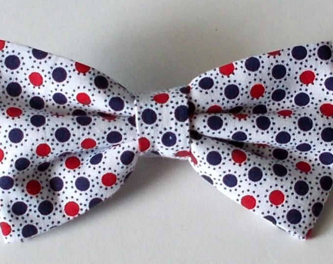 Dog Bow Tie Red, White and Blue Dot Print Size Medium