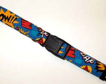Dog Collar Super Hero Words Print Size X-Large
