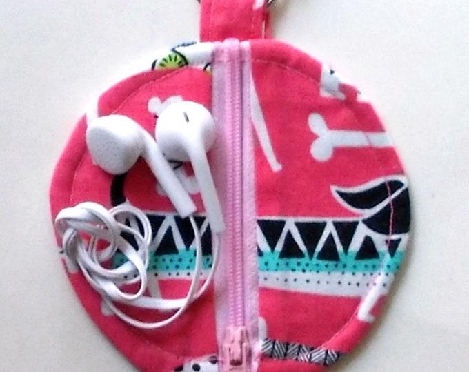 Ear Bud Case, Ear Bud Pouch, Ear Bud Holder, Ear Pod Case, Air Pod Case, Coin Purse, Dog Graphic Print