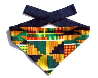Dog Bandana, Tie On, Reversible, African Kente Print