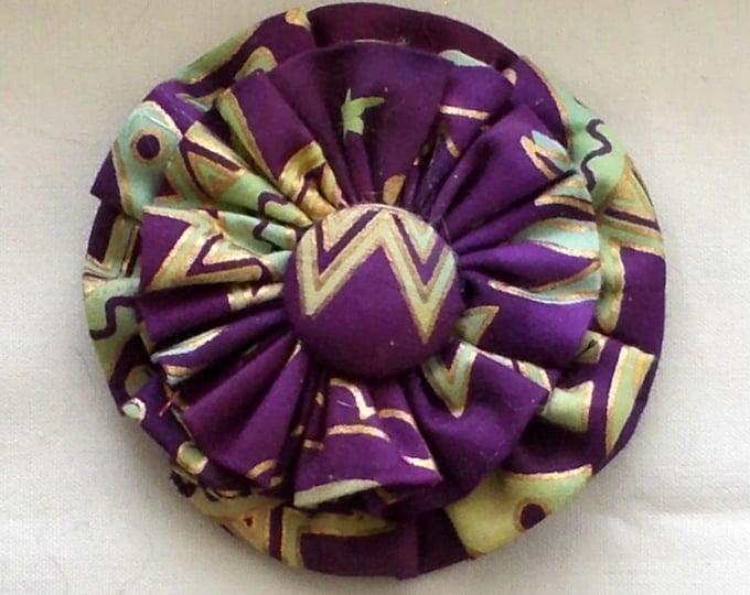 Dog Collar Flower Medium Size Indian Batik Purple and Gold Print
