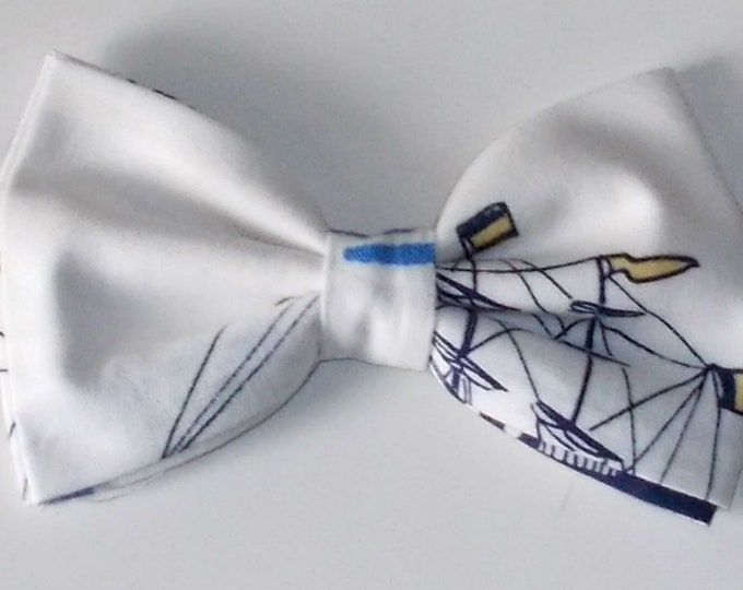 Dog Bow Tie Sail Boat Print Size Small
