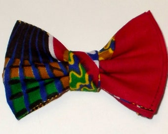 Dog Bow Tie African Wax Red Print Size Small