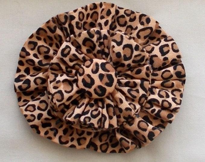 Dog Collar Flower Medium Size Leopard Print