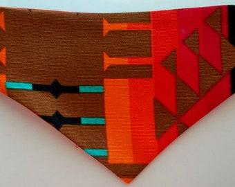 Dog Bandana, Tie On, Reversible Southwestern/Aztec Print