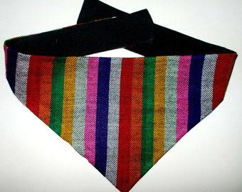 Dog Bandana Multi-color Stripe Guatemalan Fabric, Small