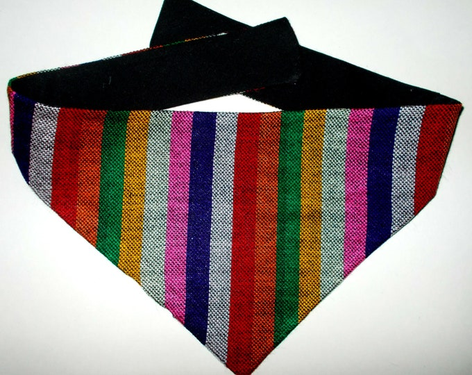 Dog Bandana Multi-color Stripe Guatemalan Fabric, Small
