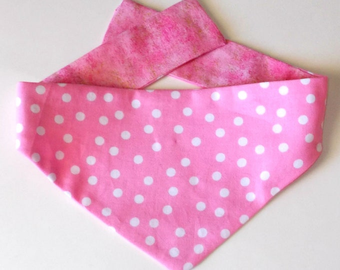 Dog Bandana, Tie On, Reversible Pink Polka Dot Print
