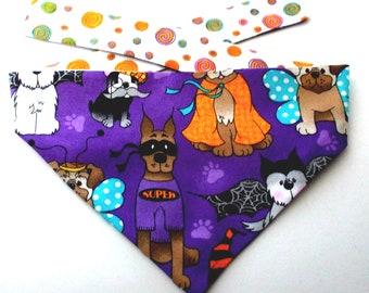 Dog Bandana, Halloween Dog Bandana, Trick or Treat Dogs, Reversible, Tie On