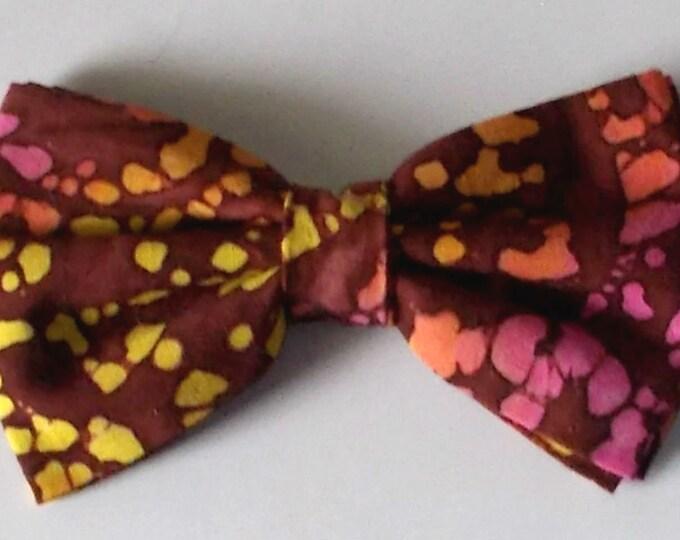 Dog Bow Tie, Red, Yellow Indian Batik Print Size Medium