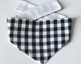 Dog Bandana, Buffalo Black & White Plaid Print, Tie On, Reversible