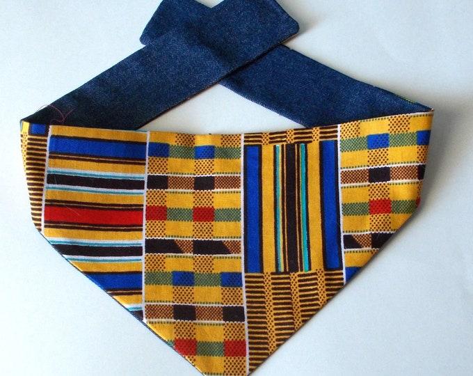 Dog Bandana, Tie On, Reversible, African Kente and Denim Print