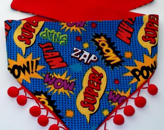 Dog Bandana, Tie On, Reversible, Super Hero Words and Pom Poms Print