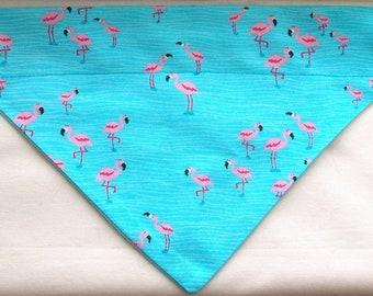 Dog Bandana, Over the Collar, Flamingo Print