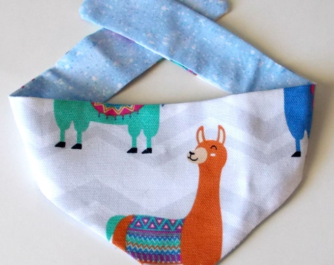 Dog Bandana, Tie On, Reversible Llama Print