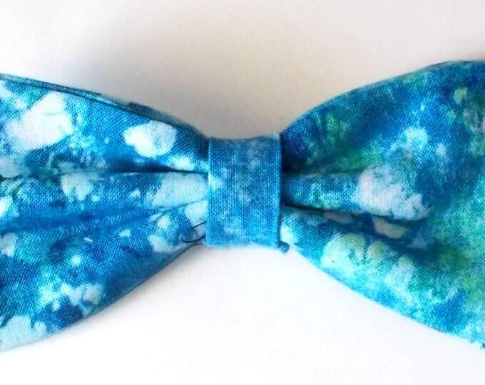 Dog Bow Tie Blue/Green Tie Dye Print Size Medium