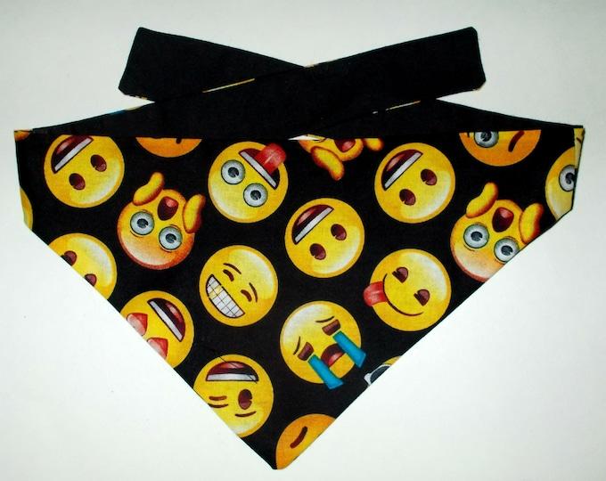 Dog Bandana, Tie On, Reversible Emoji Print
