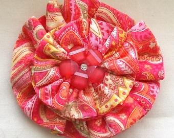 Dog Collar Flower Medium Size Pink Paisley Print
