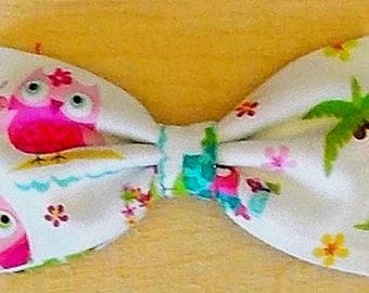 Dog Bow Tie, Owl Print Size Medium