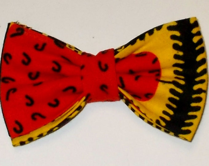 Dog Bow Tie African Wax Red, Black, Yellow Print Size Small