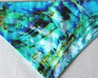 Dog Bandana, Over the Collar, Blue Tie Dye Print