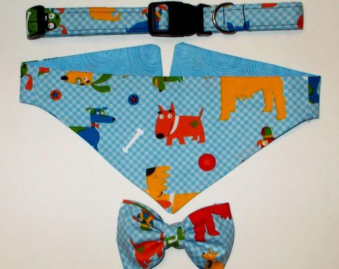 Dog Collar, Dog Bandana, Dog Bow Tie Doggy Print Gift Set