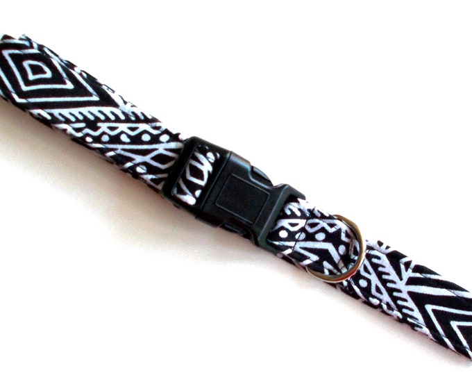Dog Collar Black and White African Print Size Large
