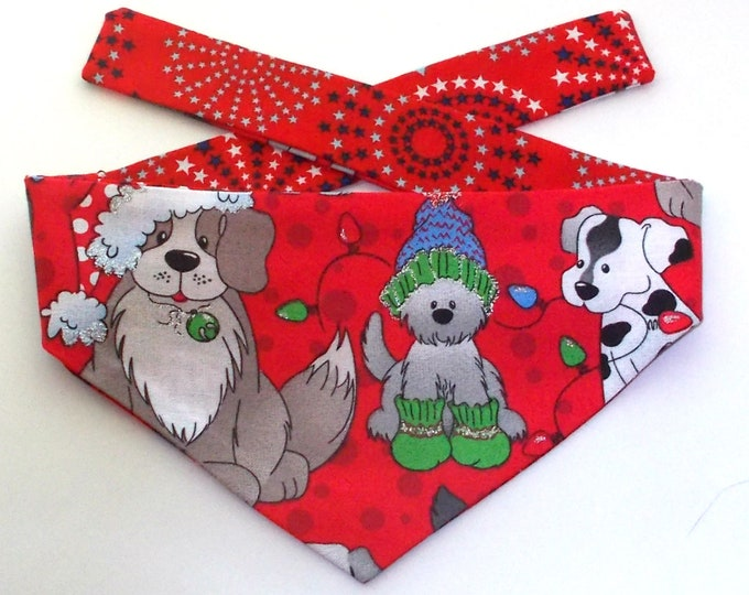 Dog Bandana, Christmas Pups, Reversible, Tie On