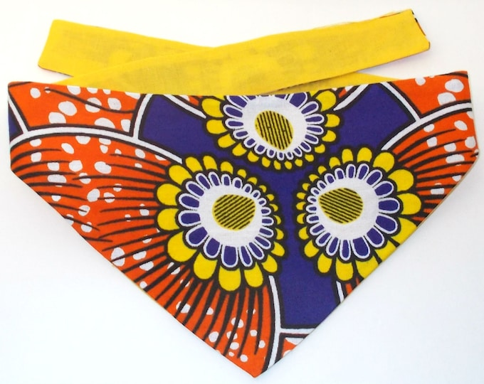 Dog Bandana, Tie On, Reversible, African Wax Floral Print (Size Small)