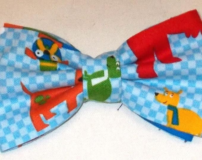 Dog Bow Tie, Dog Blue Print Size Medium