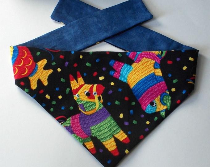 Dog Bandana, Tie On, Reversible Pinata Print