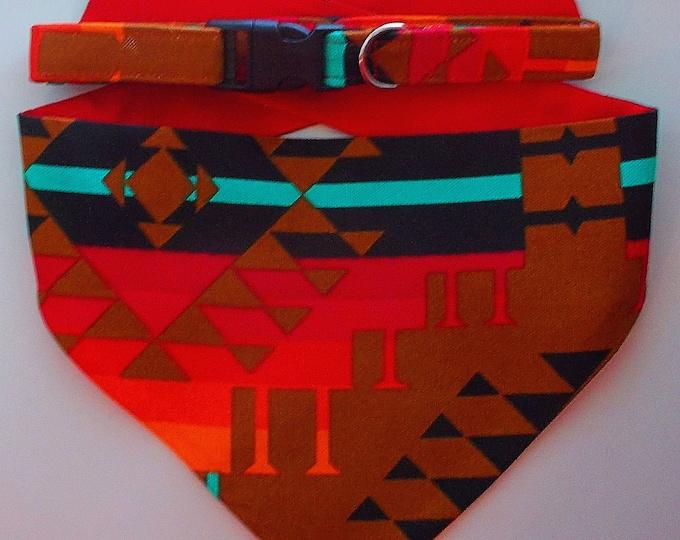 Dog Collar, Dog Bandana Southwestern/Aztec Print Gift Set - Size Medium