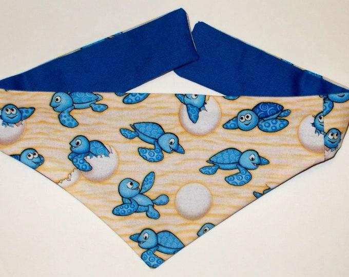 Dog Bandana, Tie On, Reversible Baby Turtle Print