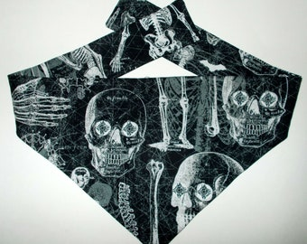 Dog Bandana, Halloween Glow In The Dark Skeleton Print, Tie On