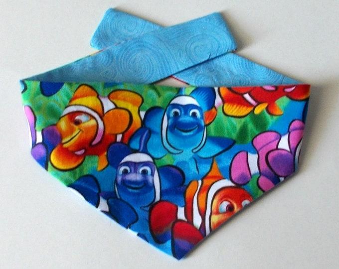 Dog Bandana, Tie On, Reversible, Clown Fish Print