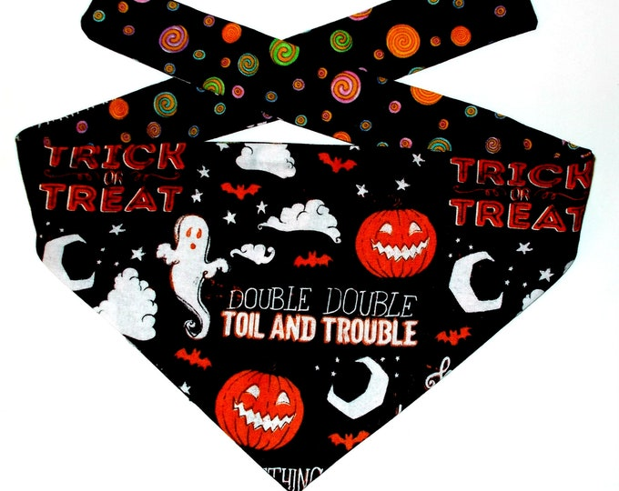 Dog Bandana, Halloween, Reversible, Tie On
