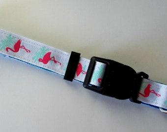 Dog Collar Flamingo Print Size Large