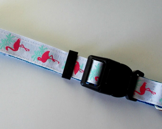 Dog Collar Flamingo Print Size Large