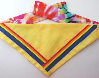 Dog Bandana, Rainbow Pride, Reversible, Tie Dye Print, Size Small