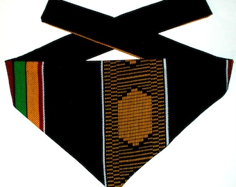 Dog Bandana, Tie On, Reversible, African Abstract Print