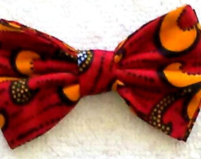 Dog Bow Tie African Ankara Orange,Yellow Print Size Large